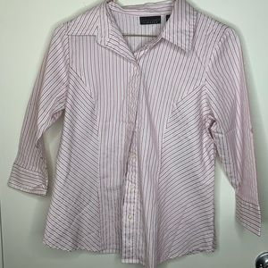 Pink and white stripped long sleeved button down